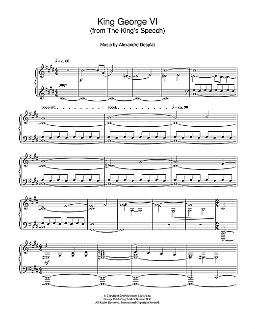 Download Alexandre Desplat 'King George VI (from The King's Speech)' Digital Sheet Music Notes & Chords and start playing in minutes