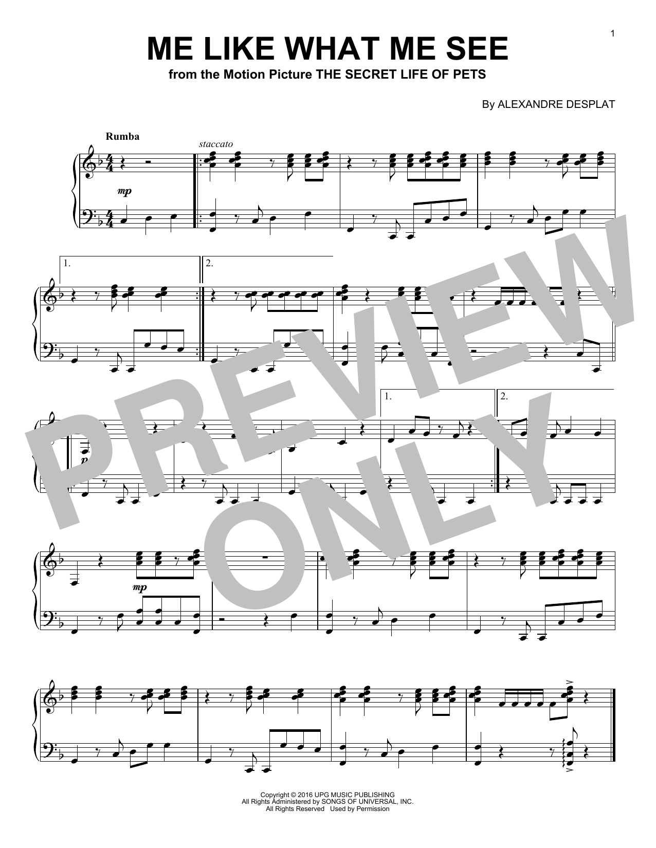 Download Alexandre Desplat 'Me Like What Me See' Digital Sheet Music Notes & Chords and start playing in minutes