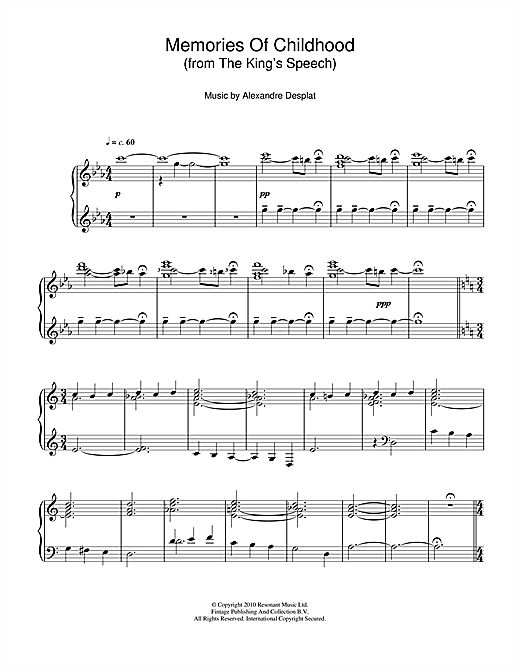 Download Alexandre Desplat 'Memories Of Childhood (from The King's Speech)' Digital Sheet Music Notes & Chords and start playing in minutes