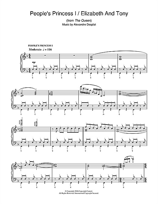 Download Alexandre Desplat 'People's Princess I/Elizabeth & Tony (from The Queen)' Digital Sheet Music Notes & Chords and start playing in minutes