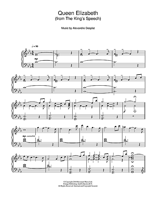 Alexandre Desplat Queen Elizabeth (from The King's Speech) sheet music notes and chords