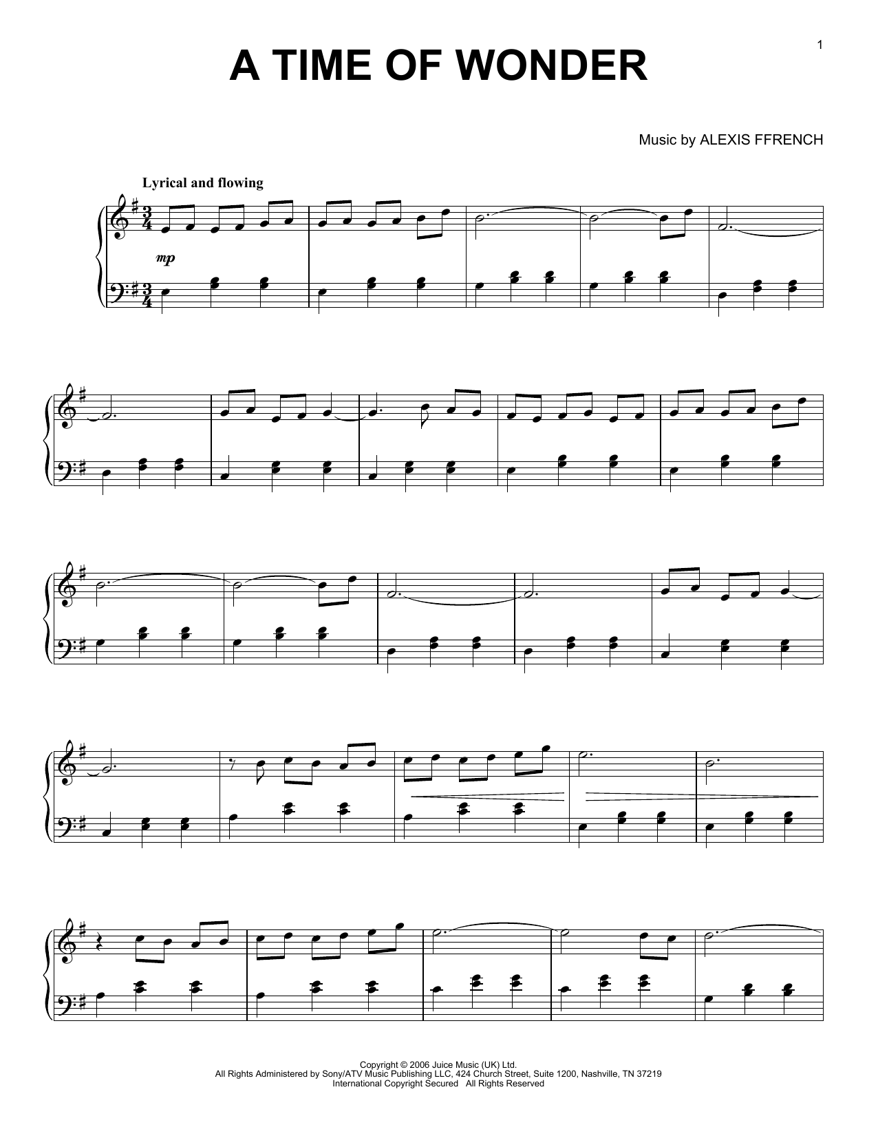 Download Alexis Ffrench 'A Time Of Wonder' Digital Sheet Music Notes & Chords and start playing in minutes
