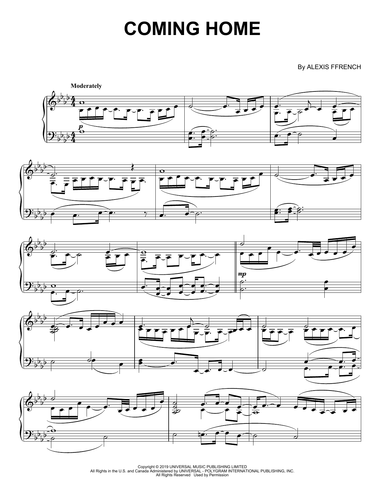 Download Alexis Ffrench 'Coming Home' Digital Sheet Music Notes & Chords and start playing in minutes