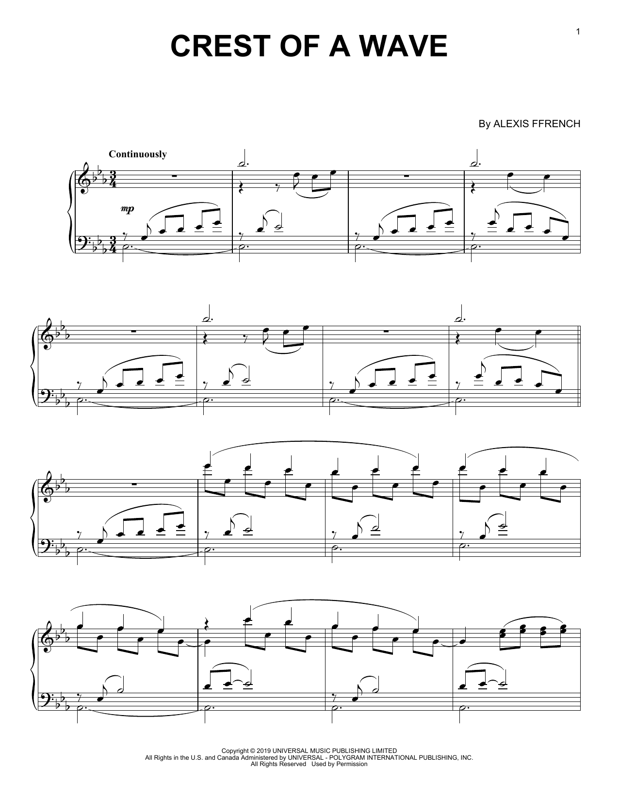 Download Alexis Ffrench 'Crest Of A Wave' Digital Sheet Music Notes & Chords and start playing in minutes