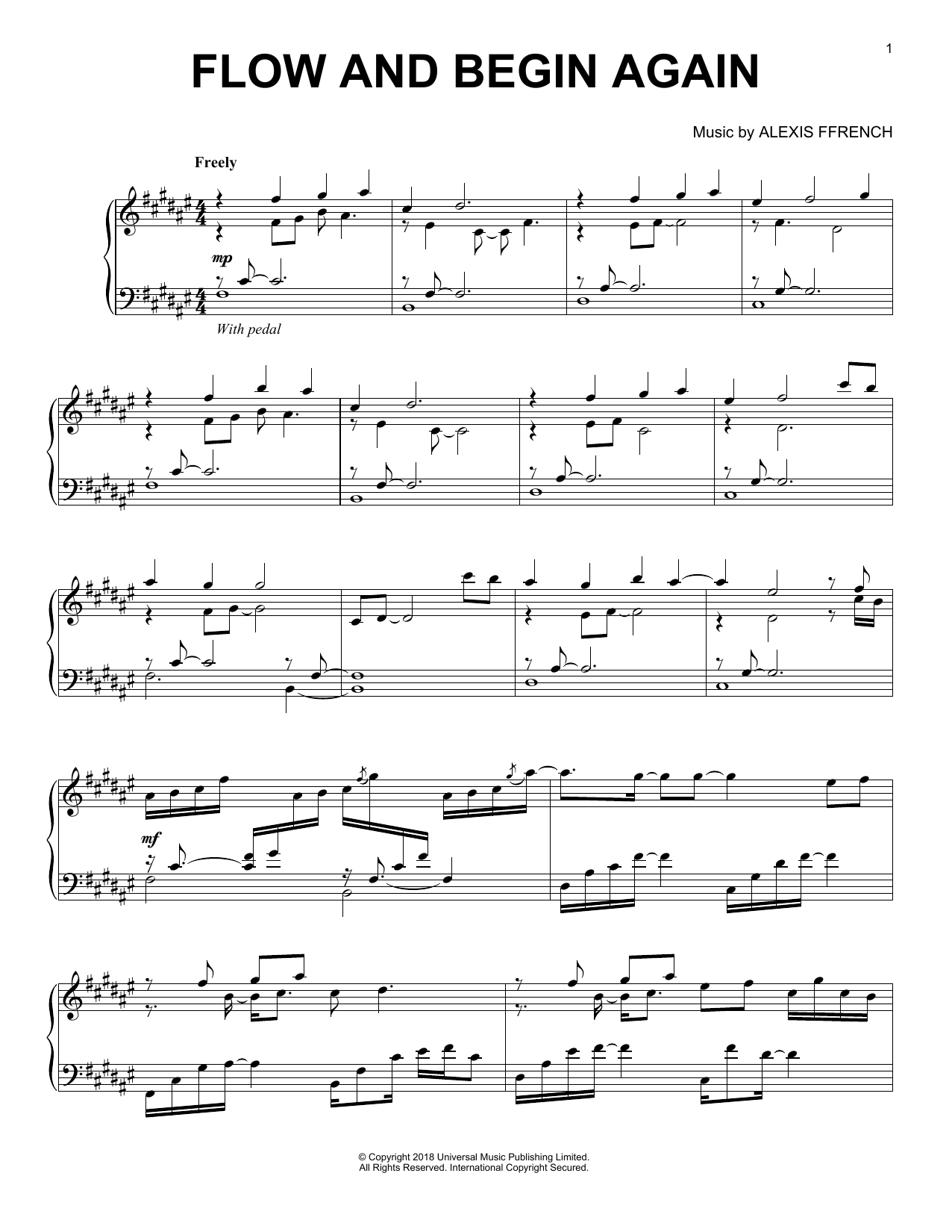 Download Alexis Ffrench 'Flow And Begin Again' Digital Sheet Music Notes & Chords and start playing in minutes