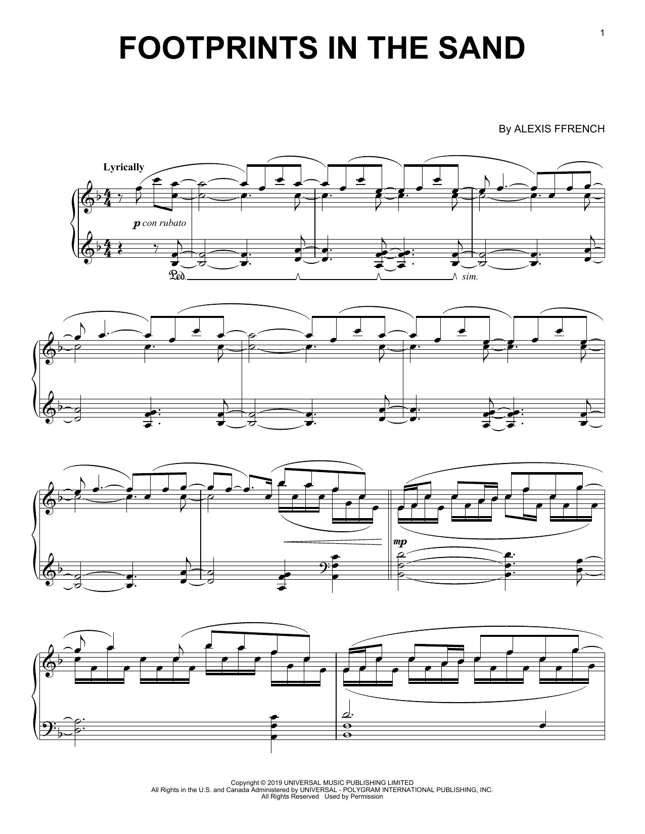 Download Alexis Ffrench 'Footprints In The Sand' Digital Sheet Music Notes & Chords and start playing in minutes