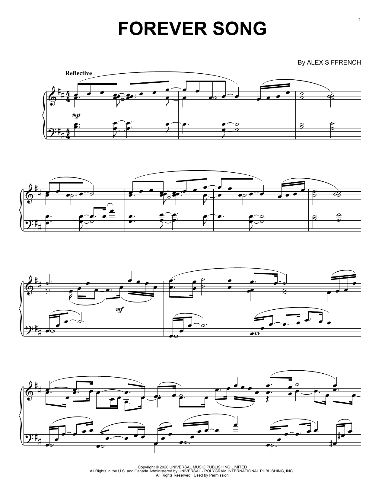 Download Alexis Ffrench 'Forever Song' Digital Sheet Music Notes & Chords and start playing in minutes