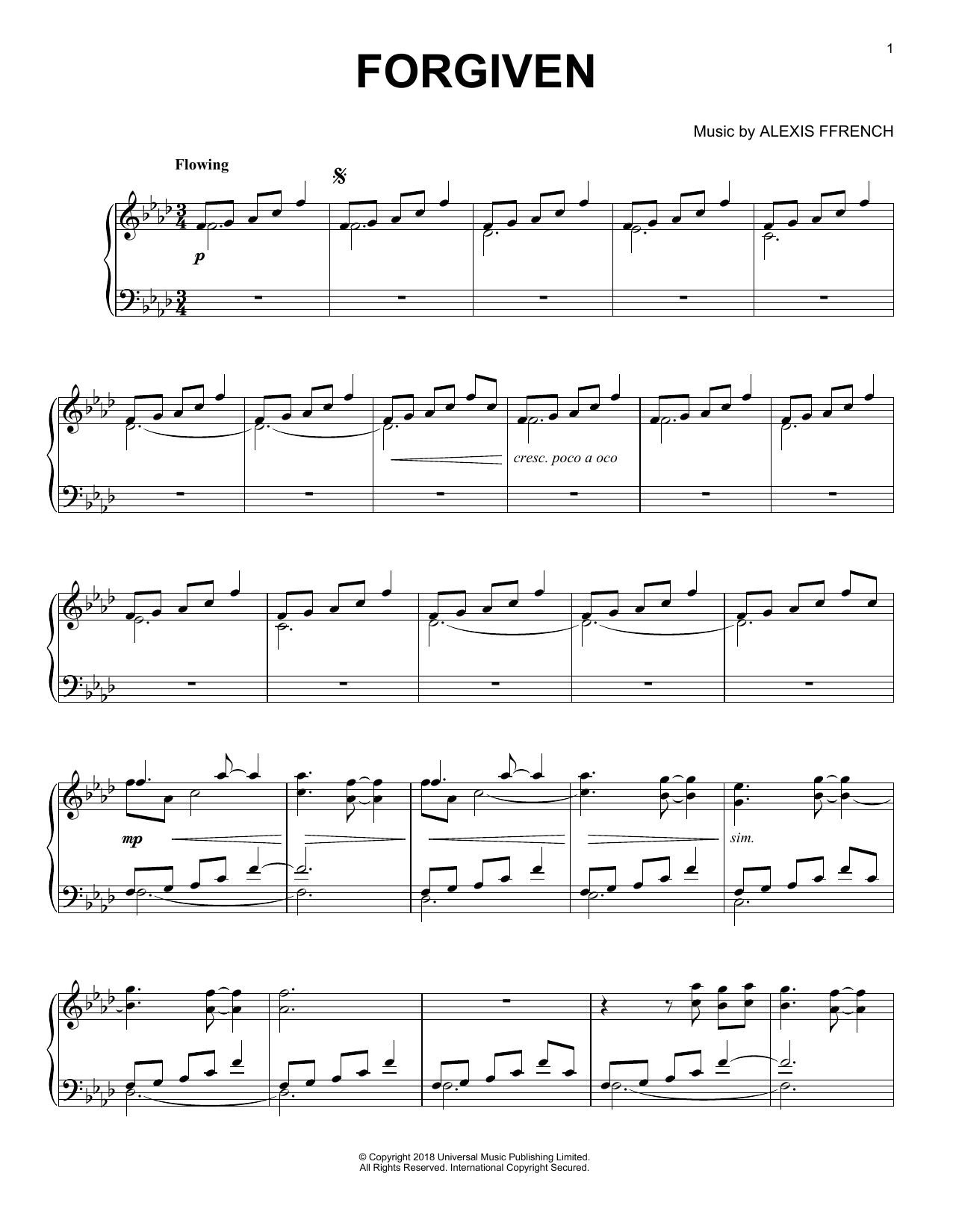 Download Alexis Ffrench 'Forgiven' Digital Sheet Music Notes & Chords and start playing in minutes