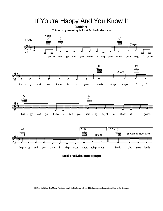 Download Traditional 'If You're Happy And You Know It' Digital Sheet Music Notes & Chords and start playing in minutes