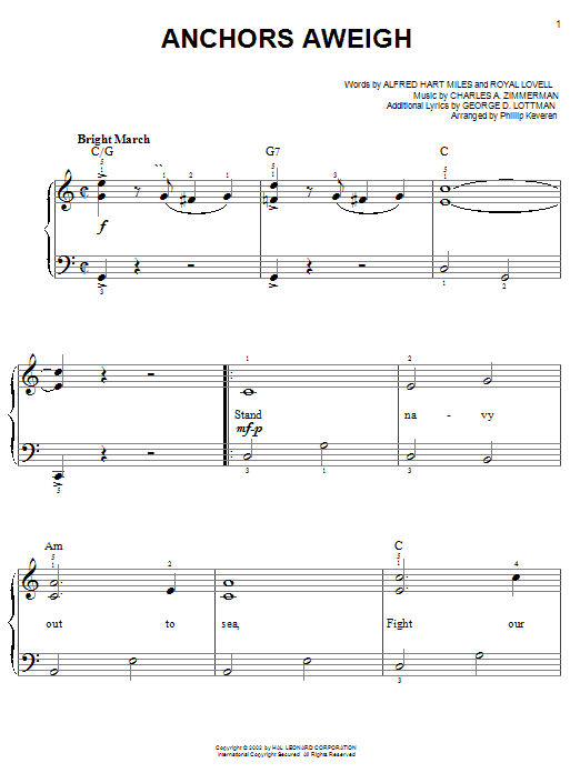 Download Alfred Hart Miles 'Anchors Aweigh' Digital Sheet Music Notes & Chords and start playing in minutes