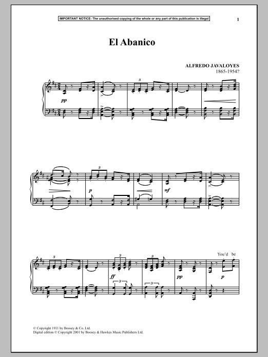 Download Alfredo Javaloyes 'El Abanico' Digital Sheet Music Notes & Chords and start playing in minutes