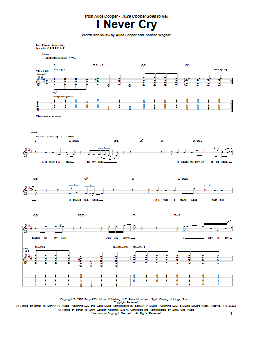 Alice Cooper I Never Cry sheet music preview music notes and score for Guitar Tab including 8 page(s)