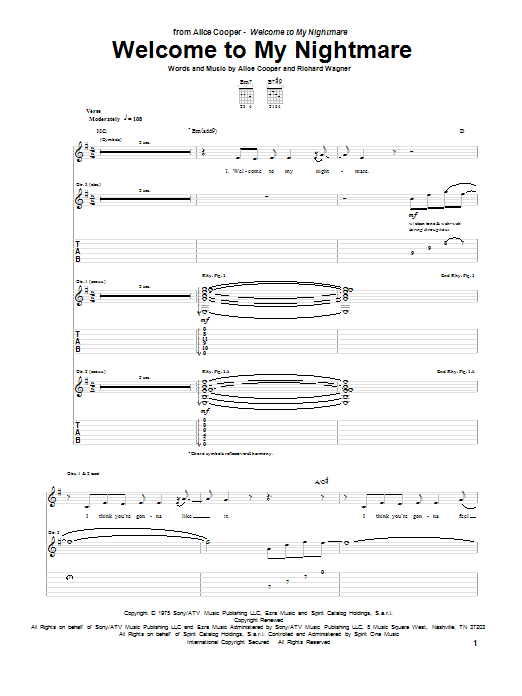 Alice Cooper Welcome To My Nightmare sheet music preview music notes and score for Guitar Tab including 13 page(s)