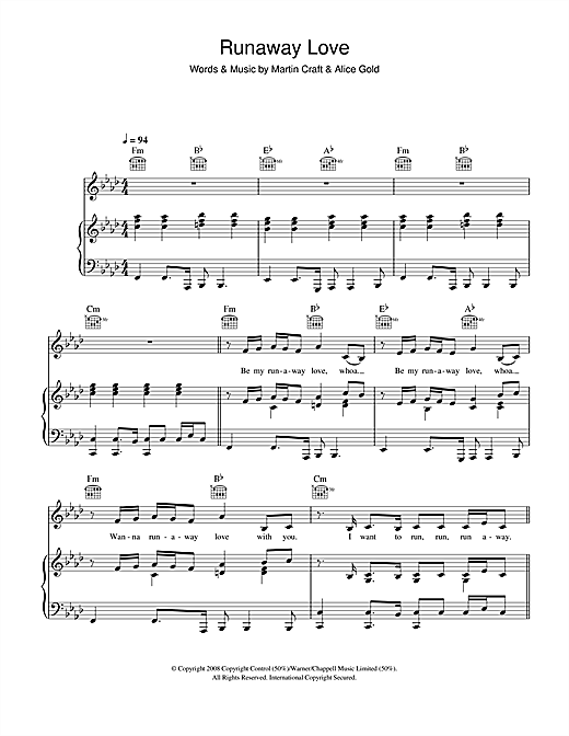 Alice Gold Runaway Love sheet music notes and chords