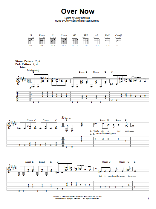 Alice In Chains Over Now sheet music preview music notes and score for Easy Guitar Tab including 4 page(s)