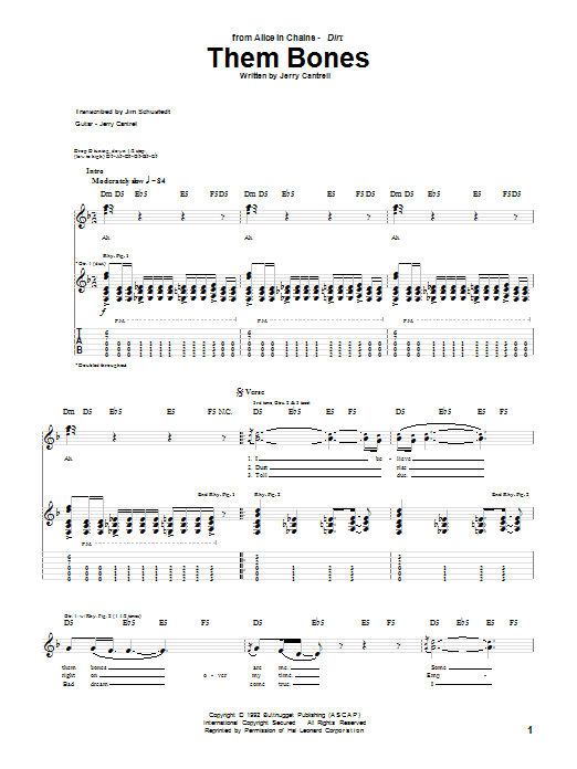Alice In Chains Them Bones sheet music preview music notes and score for Guitar Tab including 4 page(s)