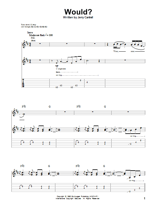 Download Alice In Chains 'Would?' Digital Sheet Music Notes & Chords and start playing in minutes