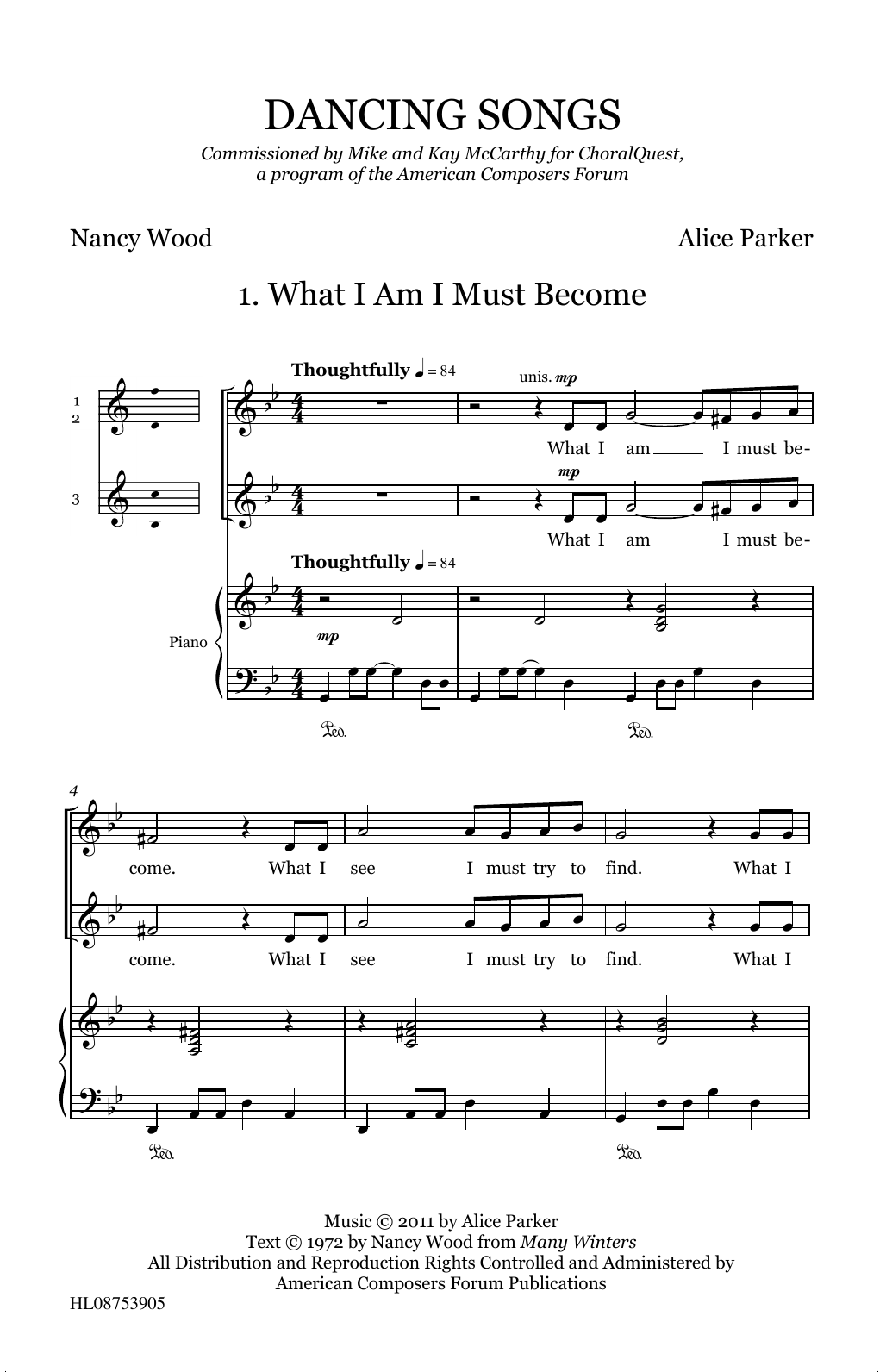 Alice Parker Dancing Songs sheet music preview music notes and score for SSA Choir including 35 page(s)