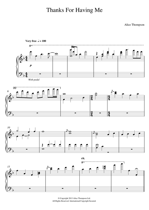 Download Alice Thompson 'Thanks For Having Me' Digital Sheet Music Notes & Chords and start playing in minutes