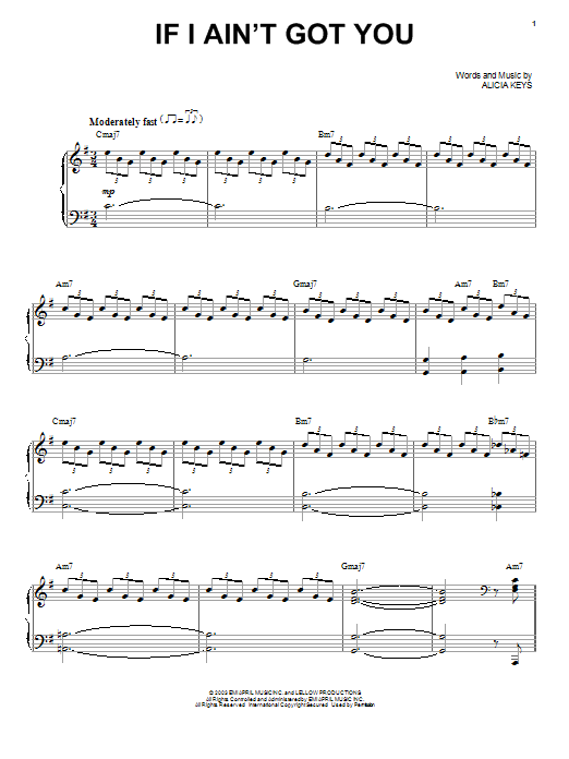 Alicia Keys If I Ain't Got You sheet music preview music notes and score for Piano, Vocal & Guitar (Right-Hand Melody) including 7 page(s)