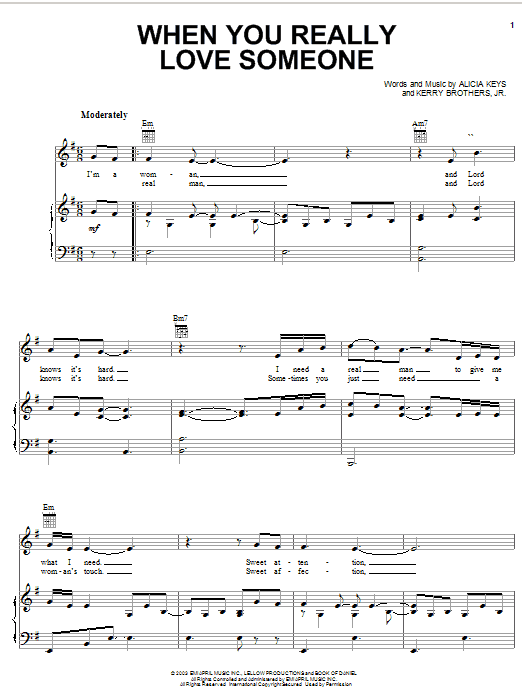 Alicia Keys When You Really Love Someone sheet music preview music notes and score for Piano, Vocal & Guitar (Right-Hand Melody) including 7 page(s)