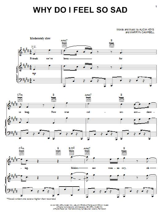 Alicia Keys Why Do I Feel So Sad sheet music notes and chords