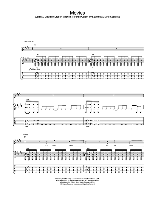 Alien Ant Farm Movies sheet music notes and chords