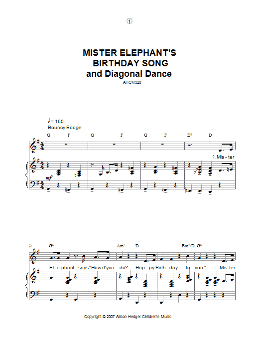 Alison Hedger Mister Elephant's Birthday Song And Diagonal Dance sheet music preview music notes and score for Piano, Vocal & Guitar including 5 page(s)