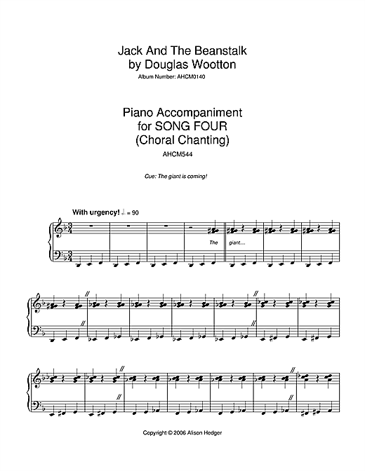 Download Alison Hedger 'Song 4 (from Jack And The Beanstalk)' Digital Sheet Music Notes & Chords and start playing in minutes