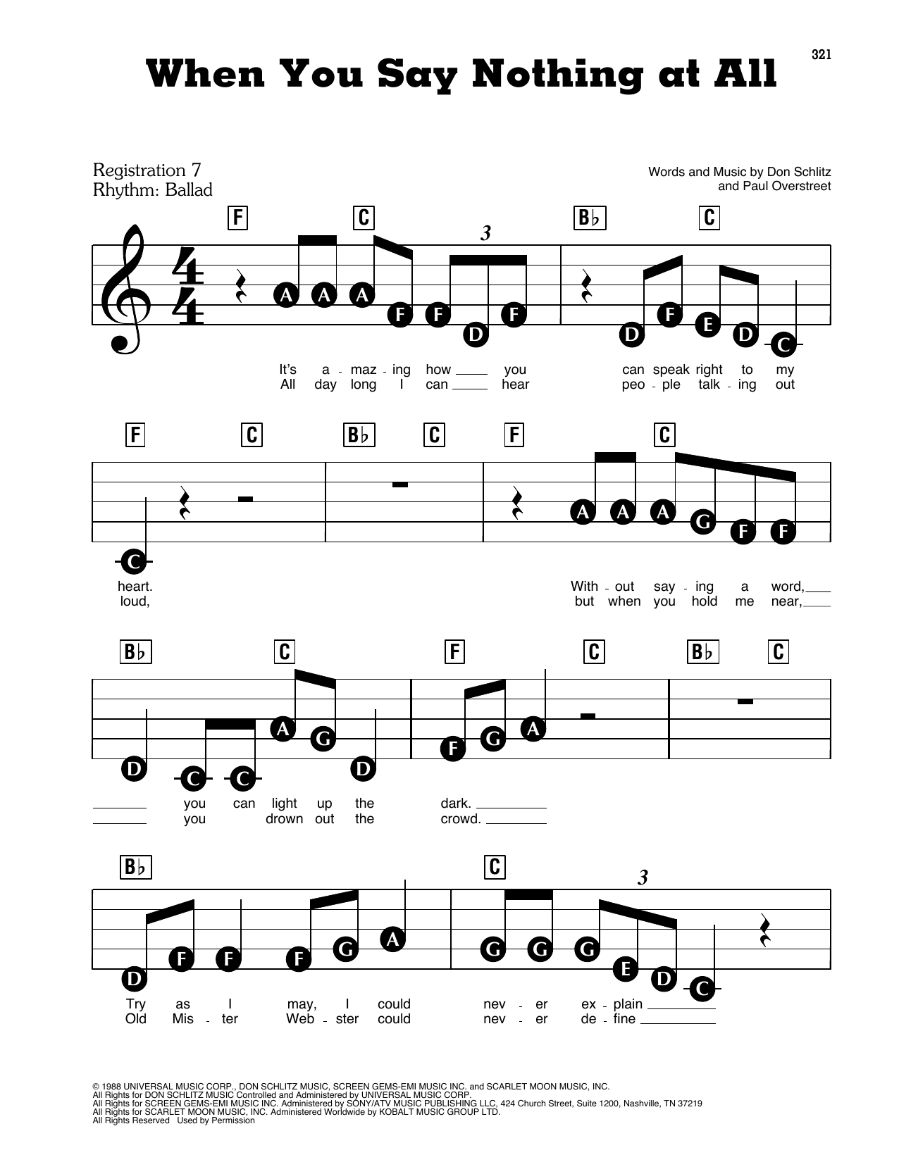 Alison Krauss & Union Station When You Say Nothing At All sheet music preview music notes and score for E-Z Play Today including 3 page(s)