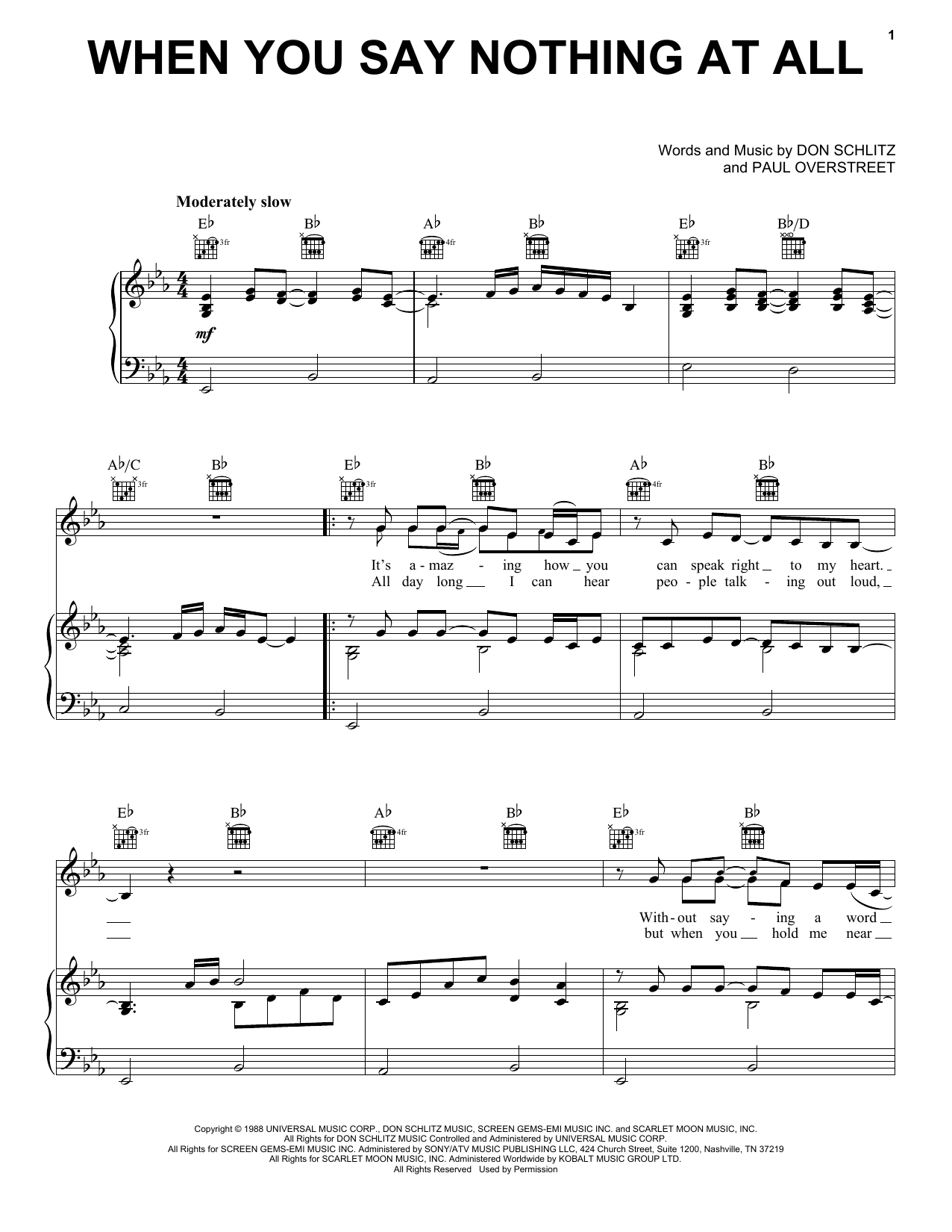 Alison Krauss & Union Station When You Say Nothing At All sheet music preview music notes and score for Piano, Vocal & Guitar (Right-Hand Melody) including 4 page(s)