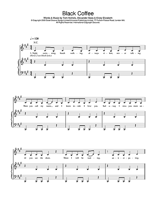 All Saints Black Coffee sheet music notes and chords
