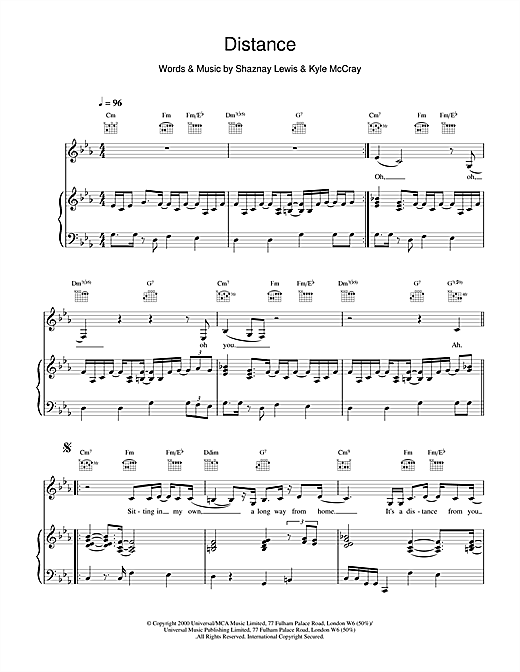 All Saints Distance sheet music notes and chords