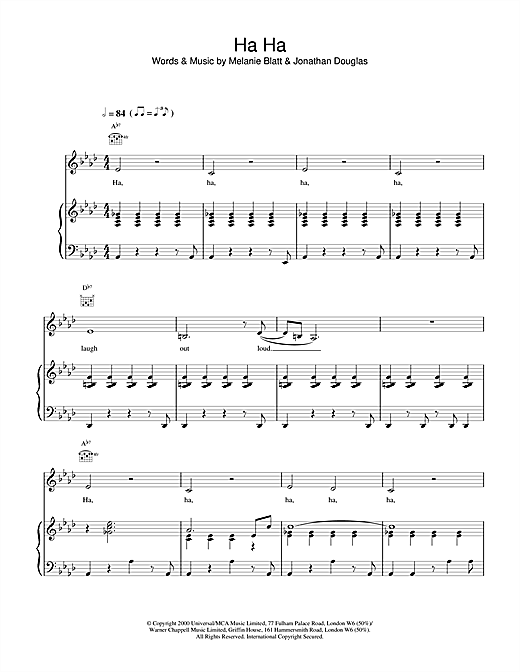All Saints Ha Ha sheet music notes and chords