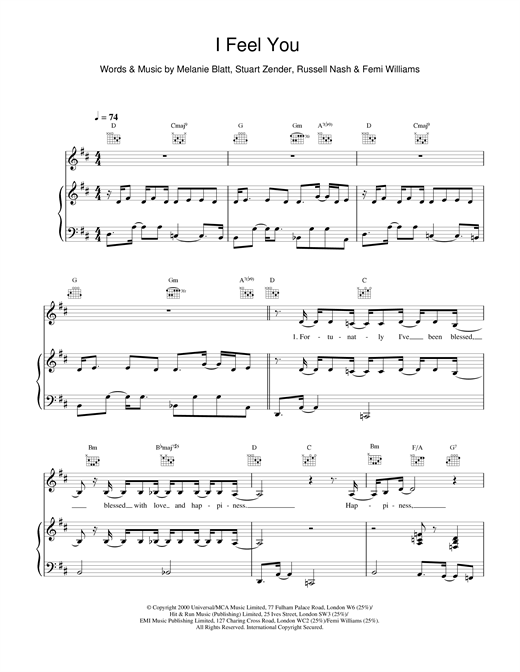 All Saints I Feel You sheet music notes and chords