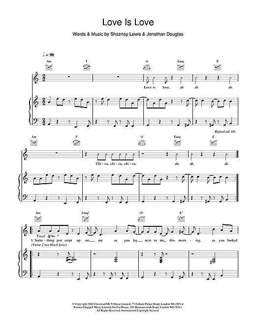 All Saints Love Is Love sheet music notes and chords