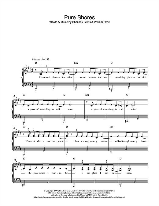 All Saints Pure Shores sheet music notes and chords