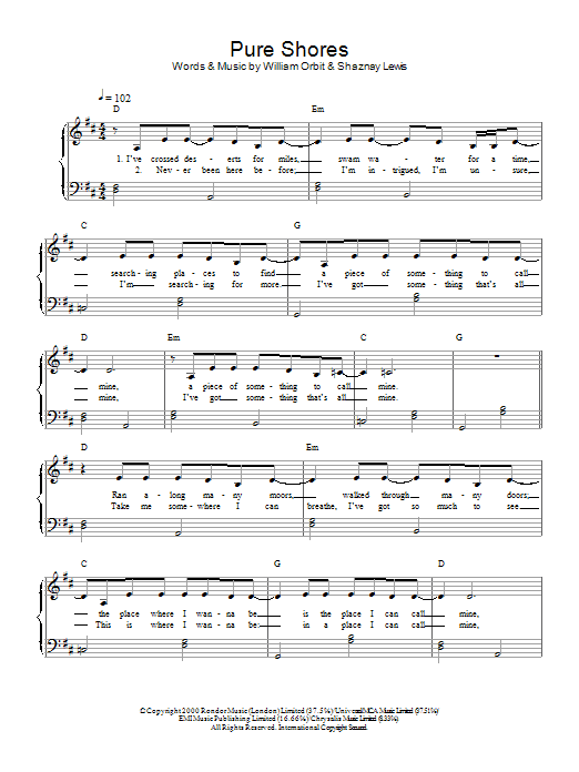 All Saints Pure Shores sheet music preview music notes and score for Beginner Piano including 2 page(s)