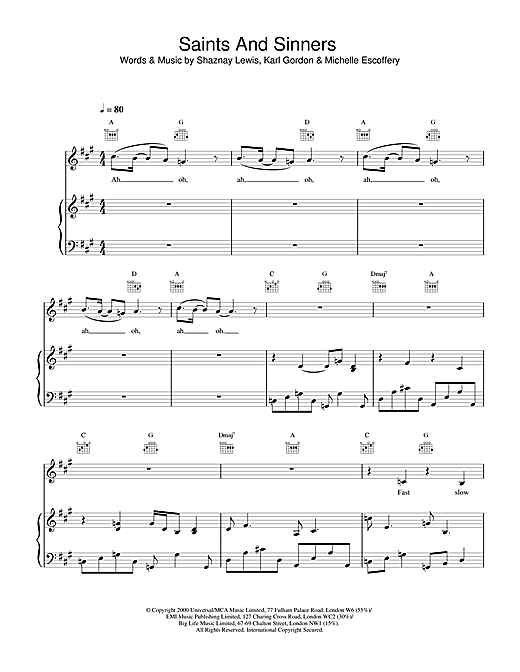 All Saints Saints And Sinners sheet music notes and chords