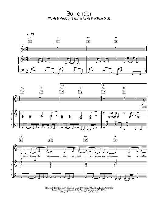 All Saints Surrender sheet music notes and chords