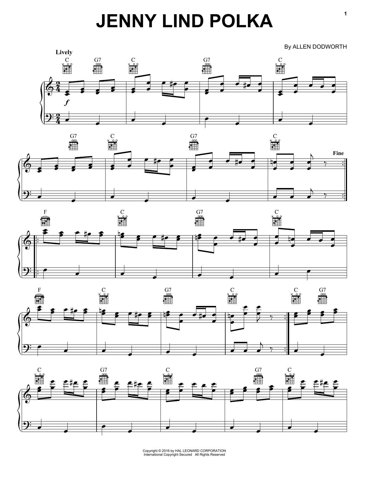 Download Allan Dodworth 'Jenny Lind Polka' Digital Sheet Music Notes & Chords and start playing in minutes