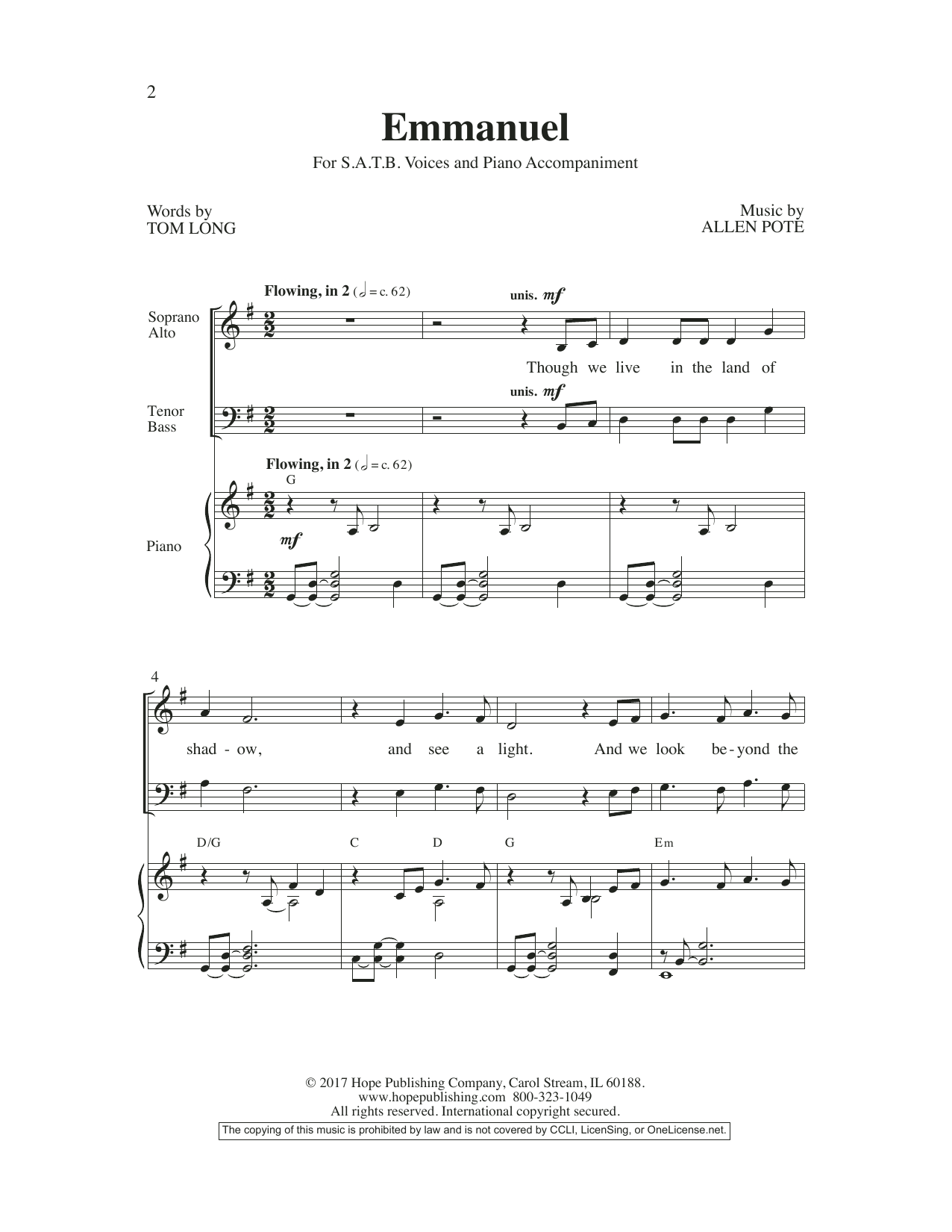 Allen Pote Emmanuel sheet music preview music notes and score for SATB Choir including 8 page(s)