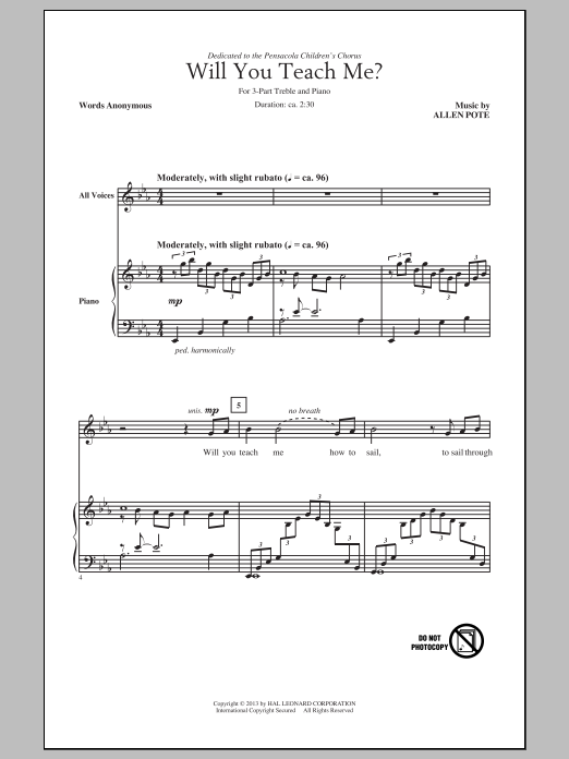 Download Allen Pote 'Will You Teach Me?' Digital Sheet Music Notes & Chords and start playing in minutes