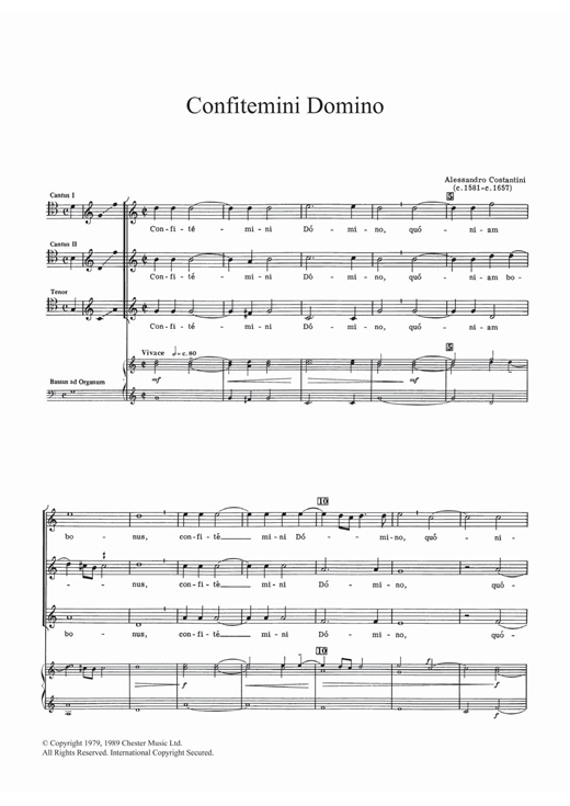 Download Allessandro Constantini 'Confitemini Domino' Digital Sheet Music Notes & Chords and start playing in minutes