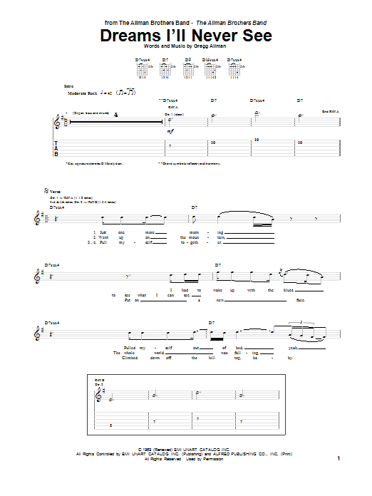 The Allman Brothers Band Dreams I'll Never See sheet music preview music notes and score for Guitar Tab including 10 page(s)
