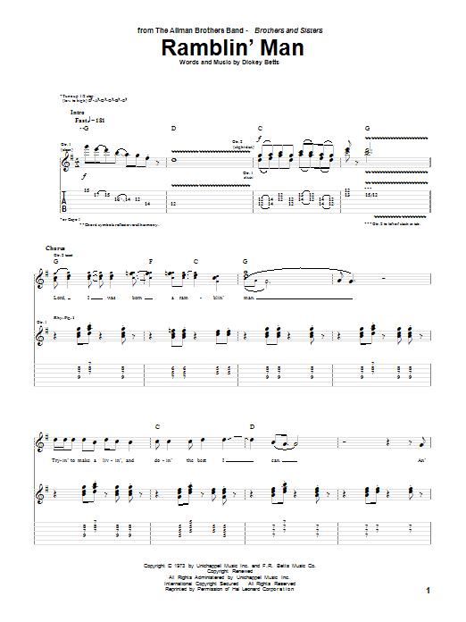 The Allman Brothers Band Ramblin' Man sheet music notes and chords