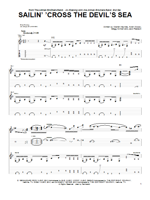 The Allman Brothers Band Sailin' 'Cross The Devil's Sea sheet music notes and chords
