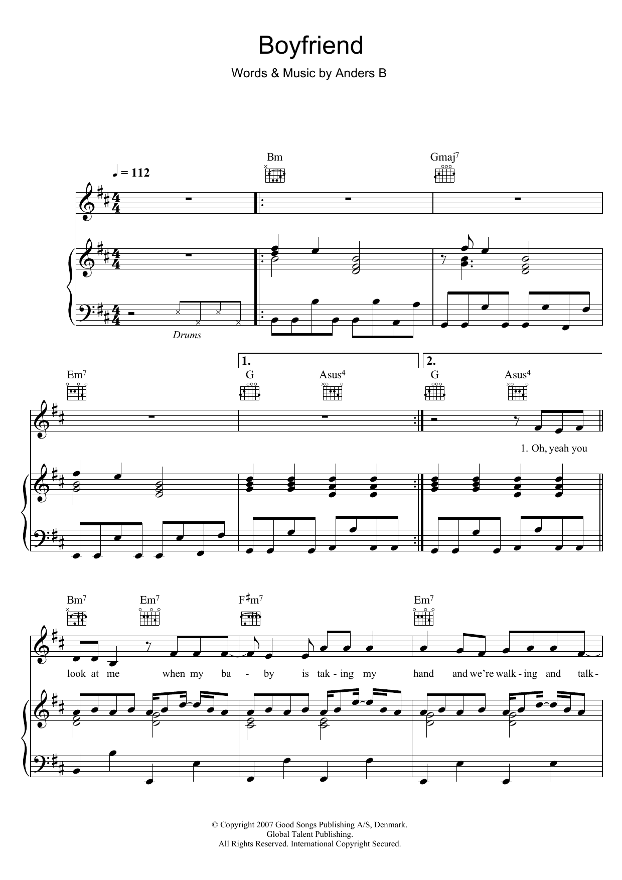 Alphabeat Boyfriend sheet music preview music notes and score for Piano, Vocal & Guitar including 7 page(s)
