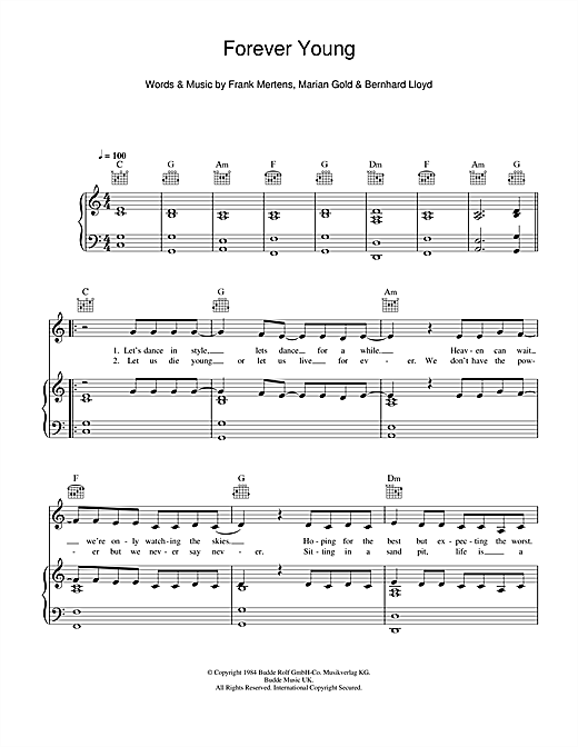 Download Alphaville 'Forever Young' Digital Sheet Music Notes & Chords and start playing in minutes