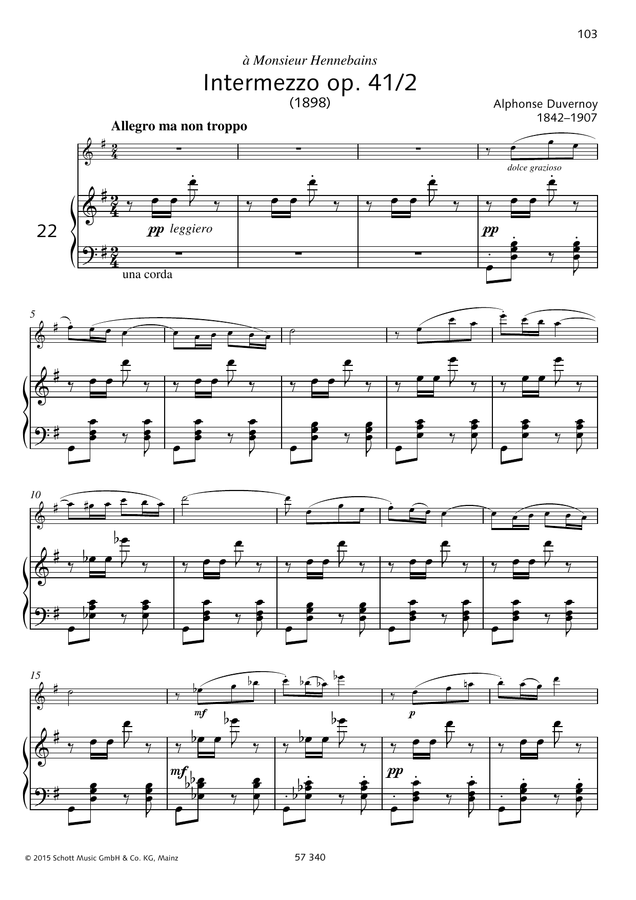 Alphonse Duvernoy Intermezzo sheet music preview music notes and score for Woodwind Solo including 8 page(s)